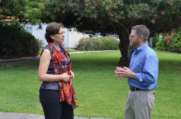 Masha Niv, vice dean for R&D, speaks with Tom Thompson, associate dean for global programs at the Virginia Tech College of Agriculture and Life Sciences, about developing partnerships between the two universities.